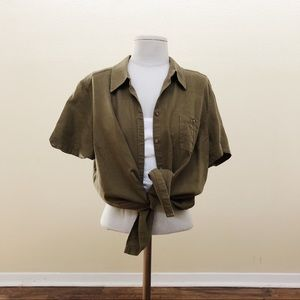 Vintage Army Green Button T-Shirt